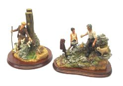 Two limited edition Border Fine Arts figure groups, comprising Out with the Dogs, model no A2647 by