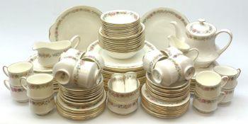 Paragon Belinda dinner service comprising of sixteen plates, twenty two side plates, sixteen tea pla