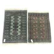 Bokhara green ground runner (185cm x 65cm) and two small rugs (3)