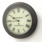 Early 20th century circular beech dial clock, the Roman dial signed 'D. Gilbert Doncaster', single t