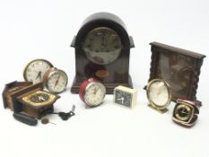 Collection of clocks - Early 20th century arched top mantel clock with inlay, oak mantel clock with