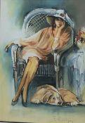 Fred Corrigan (British 1991-): 'Lazy Days', gouache signed, titled on artist's Bridlington address l