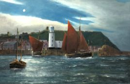 Robert Sheader (British 20th century): Fishing Boats off the Lighthouse Scarborough, oil on board si