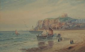 Austin Smith (British early 20th century): Boats and Bathing Machines on the Beach at 'Whitby', wate