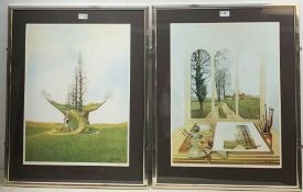 After Neil Simone (British 1947-): 'Transformation' and 'Tree Route', pair limited edition colour pr
