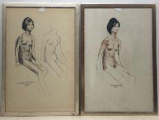 Douglas Anderson (British 1934-): Female Nude Studies, three (one verso) pencil and coloured chalk d