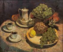 Valentin Smirnov (Russian 1927-2009): Still Life with Pineapple and Grapes, oil on canvas signed 49c