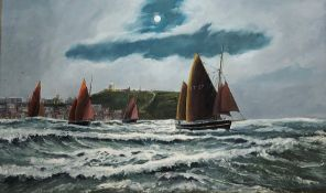Robert Sheader (British 20th century): Herring Boats in the South Bay Scarborough, oil on board 80cm