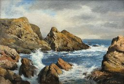 Geoffrey H Pooley (British 1908-2006): 'By the Sea St Abbs', oil on board signed, titled verso with