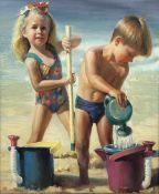 English School (20th century): Summer Holidays, oil on canvas unsigned 60cm x 50cm