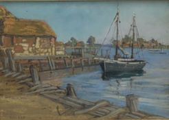 M R P Allwood (British early 20th century): 'Bosham Harbour', pastel titled and dated 1925, signed a