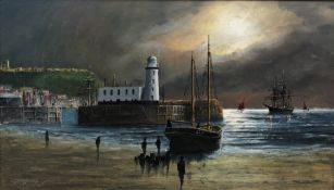 Robert Sheader (British 20th Century): Scarborough Lighthouse at Low Tide, oil on board signed 34cm