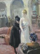 French School (early 20th century): The Dress Fitting, gouache unsigned 38cm x 31cm
