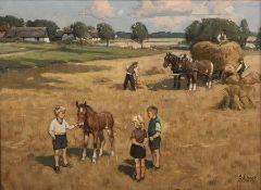 Knud Edsberg (Danish 1911-2003): Children in the Hayfield, oil on canvas signed 29cm x 39cm