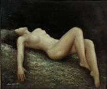 Sun San (Contemporary): Reclining Nude, oil on canvas signed 49cm x 59cm