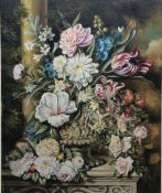 Frank Lonsdale (British 20th century): Still Life of Flowers on a Ledge, oil on board signed and dat