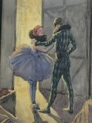 English School (Early/mid 20th century): Backstage before the Performance, watercolour unsigned 35cm