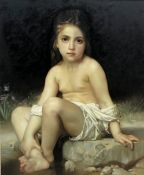 After William-Adolphe Bouguereau (French 1825-1905): Girl by a Stream, late 20th century oil on canv