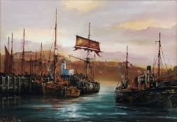 Peter Gerald Baker (British 20th century): Fishing Fleet in Scarborough Harbour, oil on canvas signe