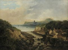 J Coole (19th century): Scalby Mills Scarborough, oil on canvas signed 54cm x 75cm