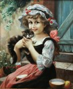 English School (Late 20th century): Girl with a Kitten, oil on canvas laid on board unsigned 59cm x