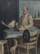Bloomsbury School (Early 20th century): Man Reading the Paper, oil on board unsigned 34cm x 29cm