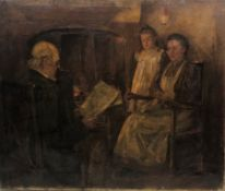English School (Late 19th century): Father Reading the News to his Family, oil on canvas indistinctl
