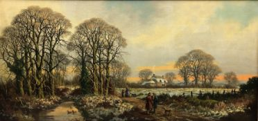 * Williams (Early 20th century): Figures in Winter Landscape, oil on canvas signed 36cm x 75cm