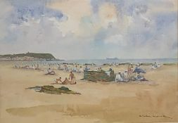 Bill Lowe (British 1922-2006): Figures on the South Beach Scarborough, watercolour signed 23cm x 34c