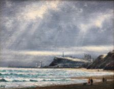 Jack Rigg (British 1927-): On the Beach at Upgang Whitby, oil on board signed 19cm x 24cm