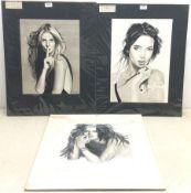 Fred Corrigan (British 1991-): 'Katie', 'Jan' and 'Shh', set three monochrome watercolour portraits