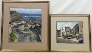 D Ashton (20th century): Robin Hood's Bay & Staithes, two watercolours signed and dated '88, 22cm x