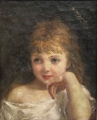 English School (early 20th century): Portrait of a Young Girl, oil on canvas laid on panel unsigned
