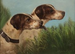 Henry Percy (British 19th/20th Century): Study of Hunting Dogs, oil on board signed 14cm x 19cm