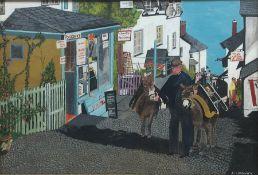 A Chadwick (20th century): 'Clovelly', oil on panel signed, titled signed and darted 1976 verso 53cm