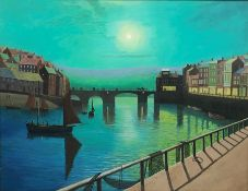 After John Atkinson Grimshaw (British 1836-1893): Whitby Harbour by Moonlight, late 20th century oil