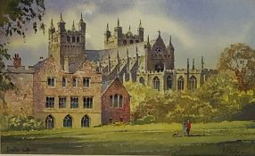 Kenneth W Burton (British 1946-): 'Exeter Cathederal', watercolour signed and titled 13cm x 21cm Pr