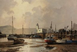 Don Micklethwaite (British 1936-): Scarborough Harbour at Low Tide, oil on board signed 34cm x 49cm