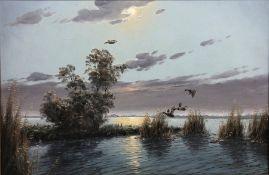 Gerard Brouwer (Dutch 1938 - ): Mallards in Flight, oil on canvas signed 59cm x 89cm