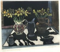 Charlie Downes (British Contemporary): 'Jugs and a Bowl with Daffodils', coloured etching