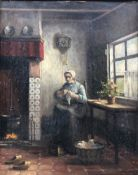 Albrecht Mulder (19th/20th century): Dutch Interior, oil on canvas laid on board signed and dated '