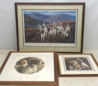 Terrence Macklin (20th/21st Century): 'Hillside Hounds', limited edition coloured lithograph signed