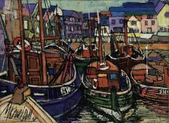 Michael Doll (20th Century): Fishing Boats in Scarborough Harbour, oil on board signed and dated '68