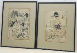 Manner of Kitagawa Utamaro (Japanese 1753-1806): Seated Lady, Japanese Woodblock print 33cm x 23cm a