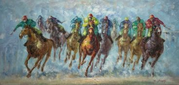 R Young (Late 20th century): Th Final Furlong, oil impasto on canvas signed 61cm x 121cm (unframed)