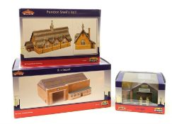 Bachmann Scenecraft - three buildings comprising Bus Depot, Pendon Snell's Hall and Garage, all boxe