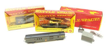 Tri-ang/Hornby '00' gauge - Battle Space Exploding Car, Battle Rescue Helicopter Car and Command Car