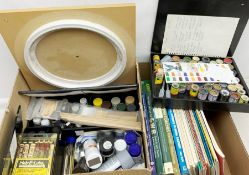 Quantity of acrylic, floquil and enamel modelling paints; and collection of books and booklets on ra