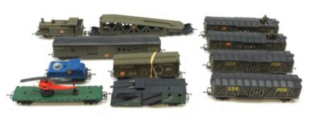 Tri-ang/Hornby '00' gauge - Battle Space Class 3F Jinty 0-6-0 tank locomotive in khaki; two POW cars