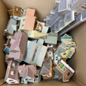 '00' gauge - large quantity of kit-built plastic and cardboard layout buildings